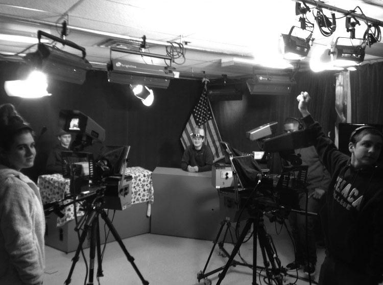 TV crew livens school day