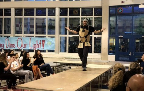 Students work runway at school fashion show