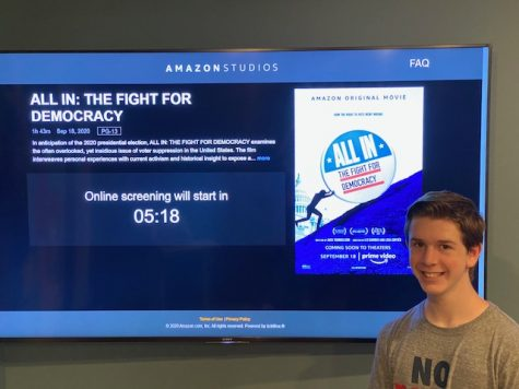 Junior Joshua M. Freedman enjoys watching an early premiere of the new film All In: The Fight for Democracy at his house on Sept. 9.