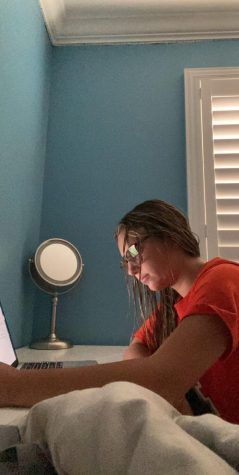 Freshman Bailey Luts attending her zoom class while taking down notes.