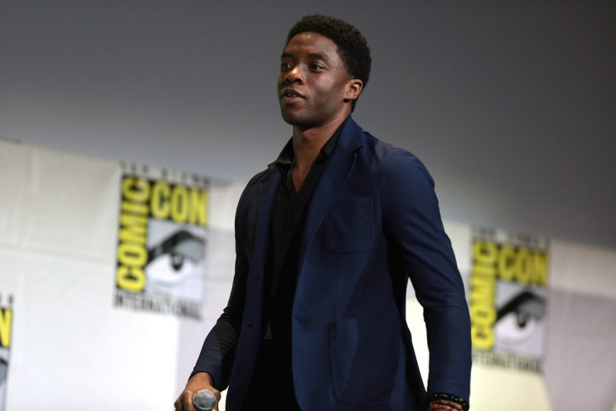 Chadwick Boseman walks onto the Comic-Con stage to talk about his new movie Black Panther, on July 23, 2017. Photo used with permission from Google commons