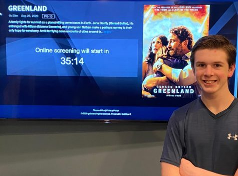 "Junior Joshua M. Freedman enjoys watching an early premiere of the new film ""Greenland"" at his house on Sept. 16."