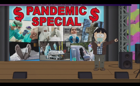 South Park character Randy Marsh presents his idea of the Pandemic Special in front of the town of South Park.