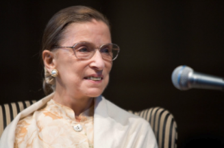 The late Justice Ruth Bader Ginsburg speaks in 2005.