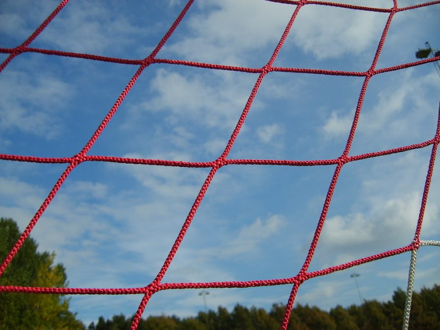 This image shows a soccer goal on a field in England.