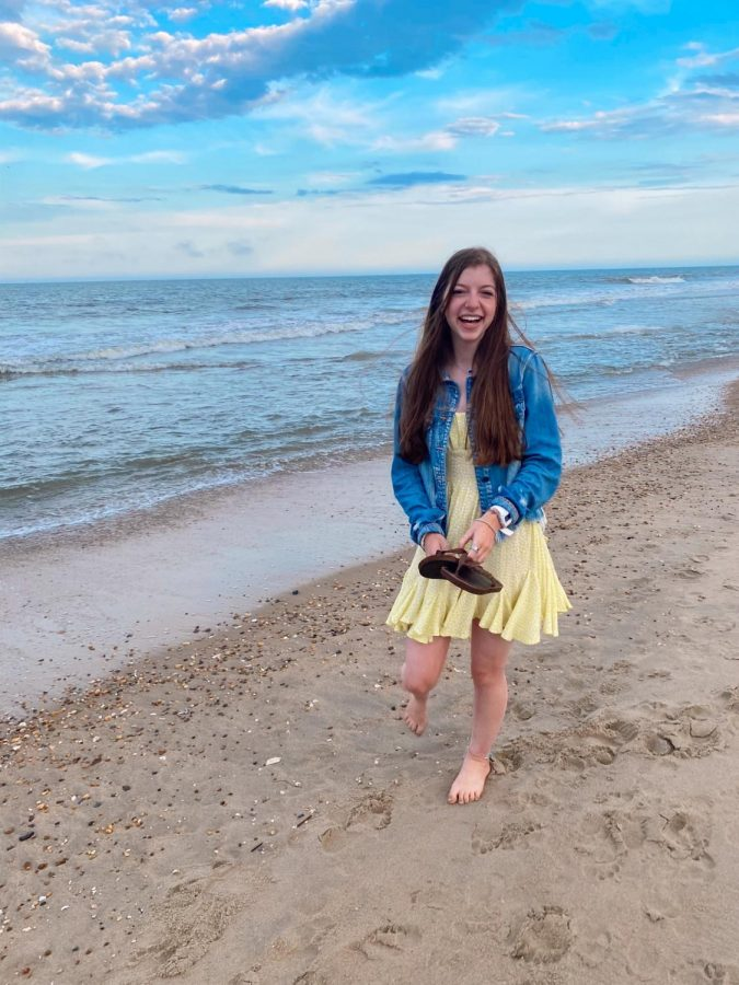 Senior Jillian Pohoryles poses for pictures on the Rehoboth beach on a pretty summer night in August.