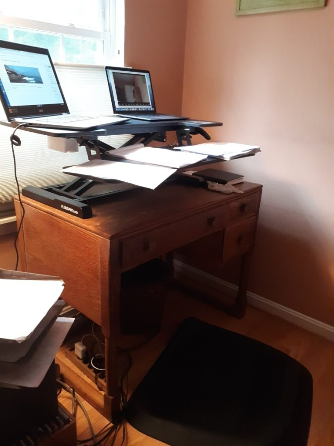 English teacher Annette Evans shares her teaching setup, which features a standing desk and two laptops.