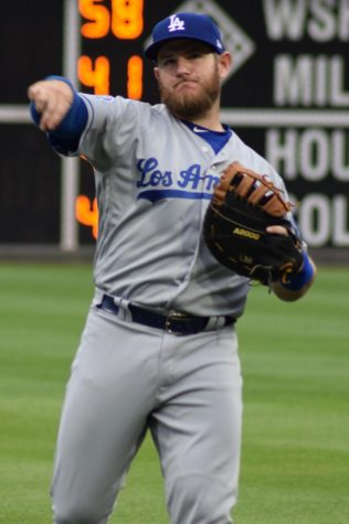 Max Muncy warms up before game 2 of the World Series on Oct. 21.