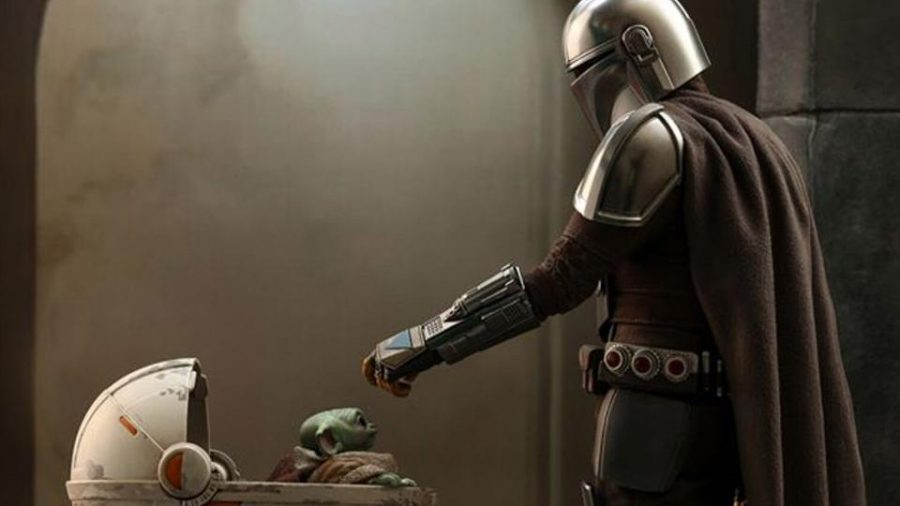 The Mandolorian meets Baby Yoda for the first time.