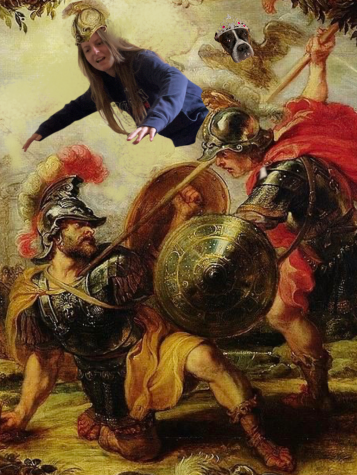 "Junior Anna Keneally and her dog Luna use their ""godly"" powers to watch as Achilles defeats his enemy."