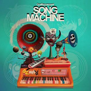 Pictured is the cover art for the album, Song Machine, by virtual band Gorillaz. The album has garnered critical acclaim for the variety of collaborations and genres featured.