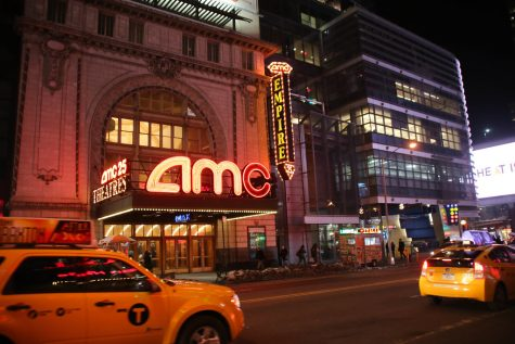 The AMC Empire 25 building located in New York City before the pandemic hit.