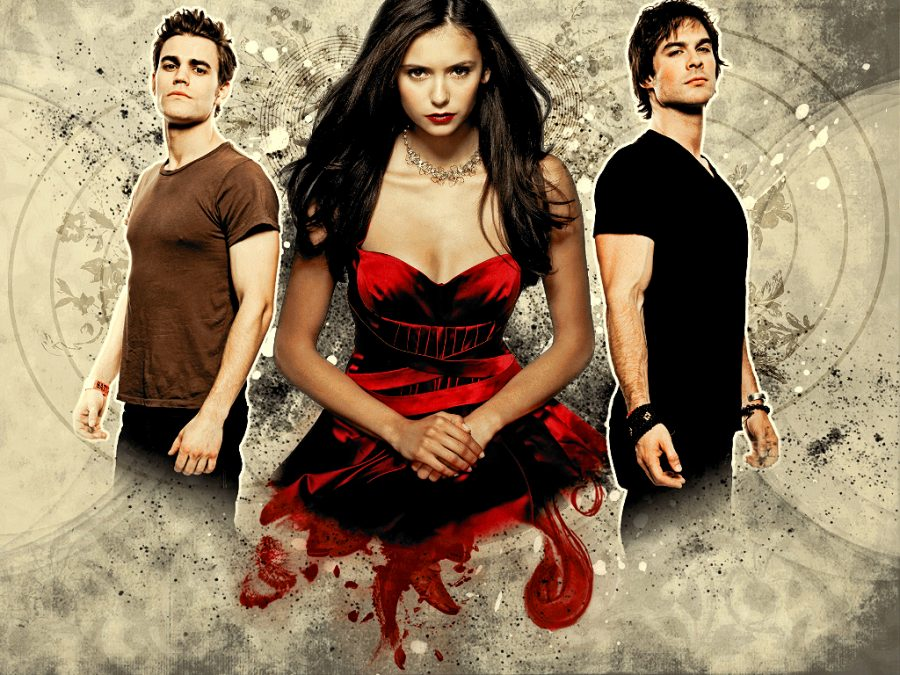 The main cast of The Vampire Diaries, Paul Wesley, Nina Dobrev and Ian Somerhalder. The Vampire Diaries is popular with students. It first aired in 2009 and was taken off air in 2017, but is now available on streaming applications.