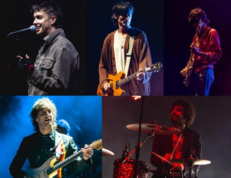 A collage of The Strokes live shows between 2019-2020. From left to right - singer Julian Casablancas; guitarist Nick Valensi; bassist Nikolai Fraiture; guitarist Albert Hammond Jr.; drummer Fabrizio Moretti.