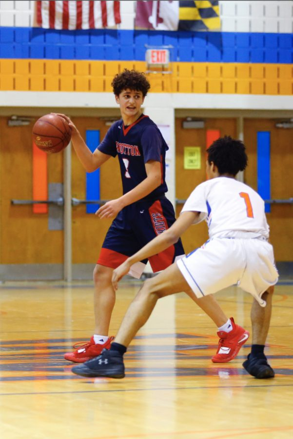 Senior William Margarities takes the floor against Watkins Mill in a game from the 2019-2020 season.