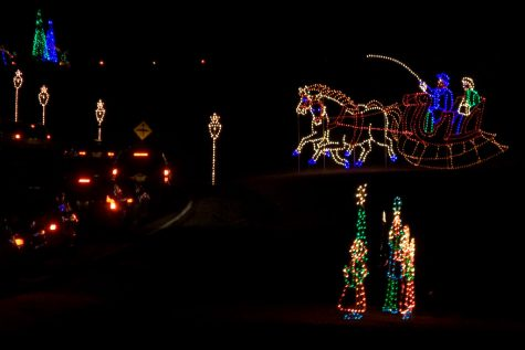 Illuminated light displays at the Winter Lights Festival in Seneca Creek State Park.