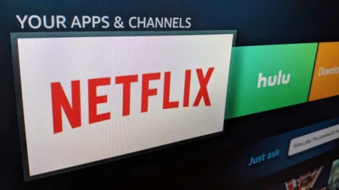 Netflix and Hulu streaming services on the TV.