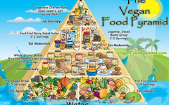 This vegan food pyramid features ar variety of vegan foods to eat in order to have enough nutrients. Foods are featured in ascending order of how much food to eat in different food groups.