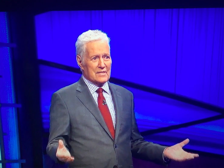 Jeopardy! host Alex Trebek speaks at the end of his final show, which premiered on Jan. 8.