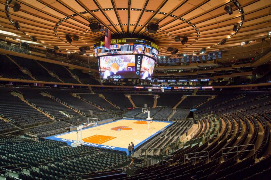 Madison+Square+Garden+prepares+for+a+season+with+no+fans+in+attendance.