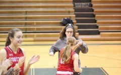 Sophomore Allie Museles with the girls' basketball team.