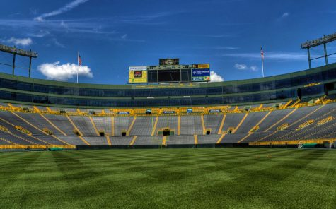 A quiet Lambeau Field before limited fans come into the stadium for the Rams v. Packers game
