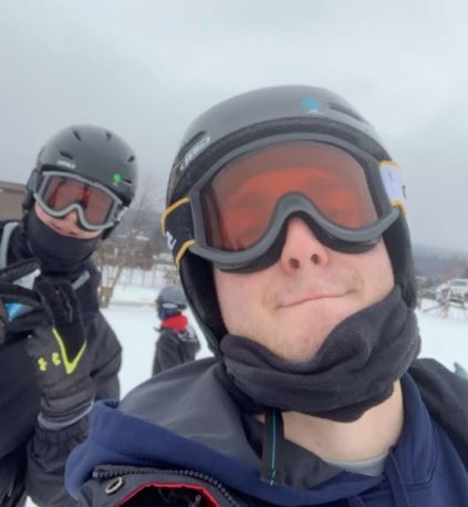 Senior Connor Koch and Alum Jack Lvovsky take on the task of outdoor skiing while still maintaining Covid safe precautions