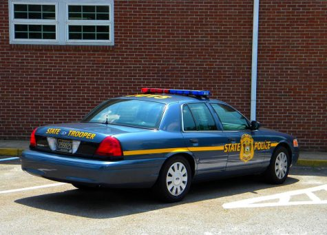 A state trooper car, like other police cars, shows its presence at schools around the country.