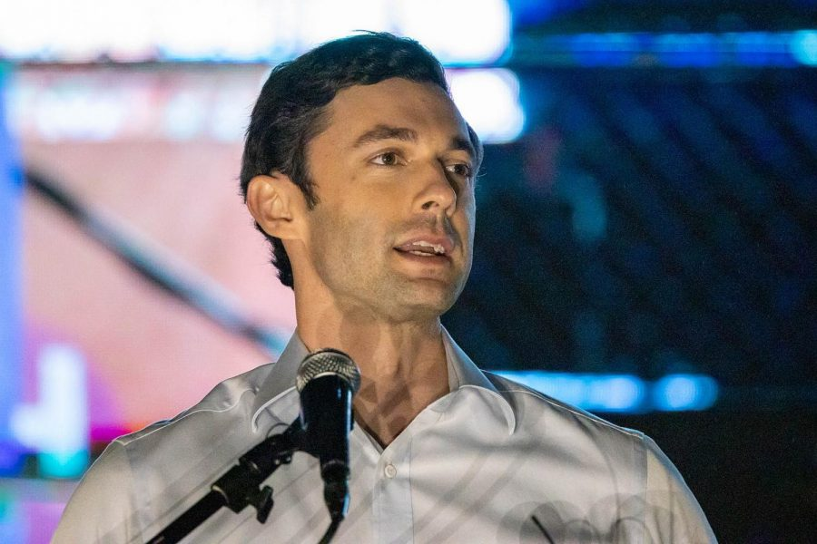 Jon+Ossoff+addresses+a+crowd+Nov.+10%2C+2020.+Ossoff+later+won+David+Perdue%27s+Senate+seat+after+the+Jan.+5+runoff+election.