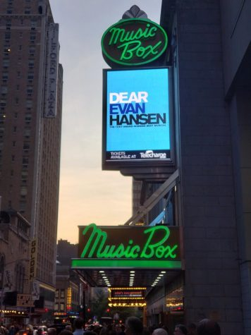 The Broadway play Dear Evan Hansen is performed at the Music Box Theatre.