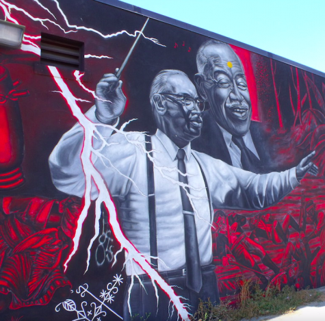 A mural located at the William Grant Still Art Center of Los Angeles, depicts William Grant Still electrifyingly conducting an orchestral score.