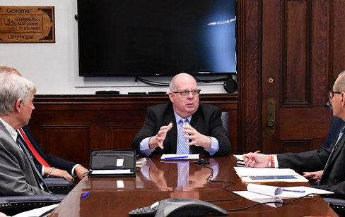 On Mar. 6, 2020, Larry Hogan meets with the Leaders of Long-Term Care Community to update the public on the Coronavirus at the Maryland State Capitol.