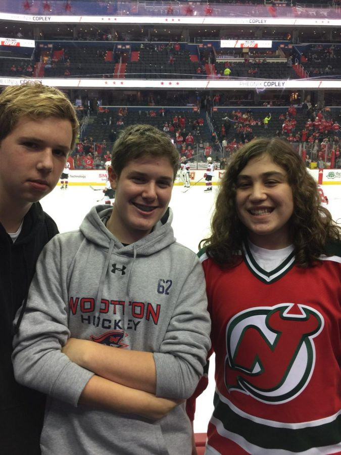 Juniors James Lieske, Noah Weber, and Spencer Golub attend a New Jersey Devils hockey game before the pandemic made this impossible.