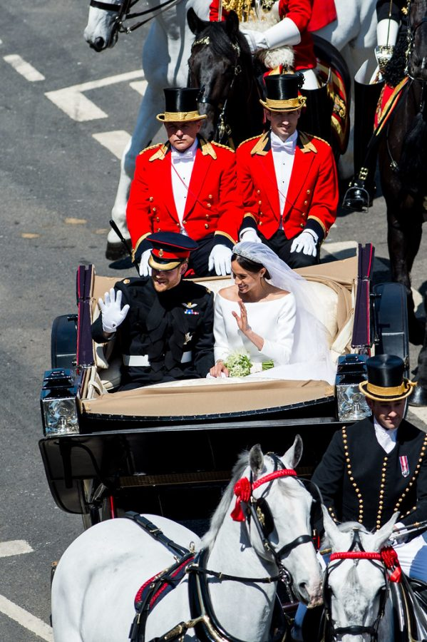 The Duke and Duchess ride off in a carriage after their wedding on May 19, 2018.