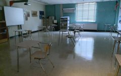 A typical classroom has roughly 12 desks that are placed six feet apart to ensure students' safety.