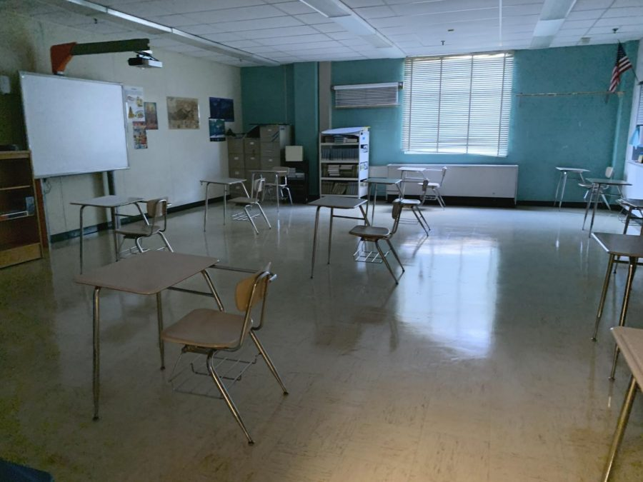 A typical classroom has roughly 12 desks that are placed six feet apart to ensure students safety.