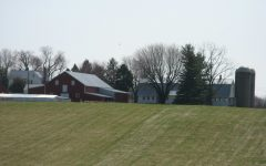 Side view of the Belward Farm barns and farmhouse.