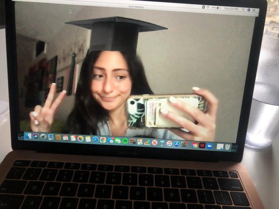Senior Zara Denison plays around with Zoom filters.