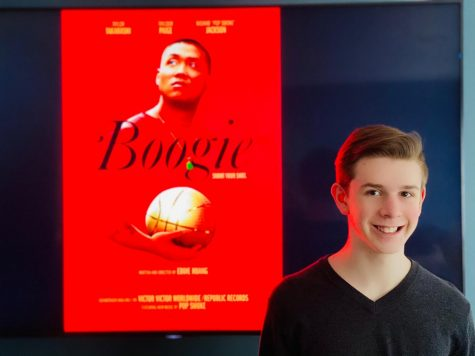 "Junior Joshua M. Freedman watches an early premiere of ""Boogie"" from his home on Mar. 1."