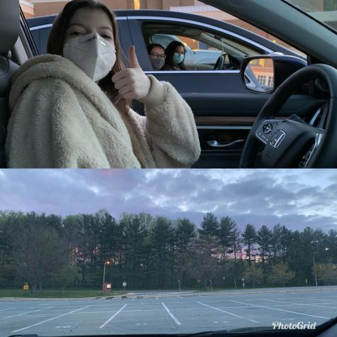 Seniors Jillian Pohoryles, Liron Gamliel and Jenna Robinson sit in their cars and watch the sunrise on Apr. 16.