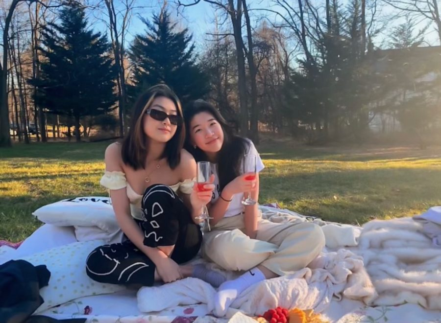 Sophomores Ruth Dai and Angela Gu enjoy a picnic in Dai's backyard.