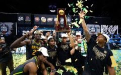 Baylor celebrates winning the NCAA tournament for the first time in their school's history.
