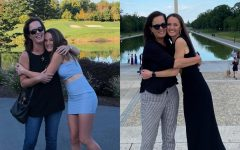 Senior Kirby Child with her mother Tracy Child at homecoming freshman year (left) and prom senior year (right).