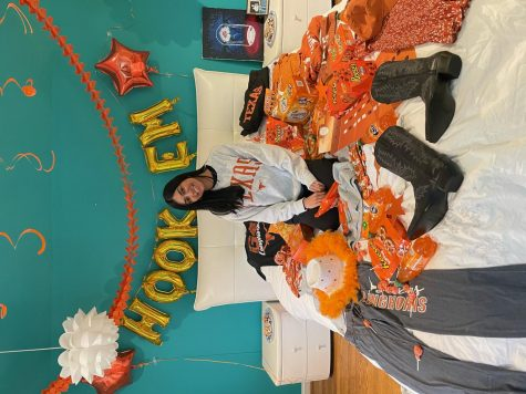 Senior Riya Kholi celebrates committing to college with bedroom decoration.