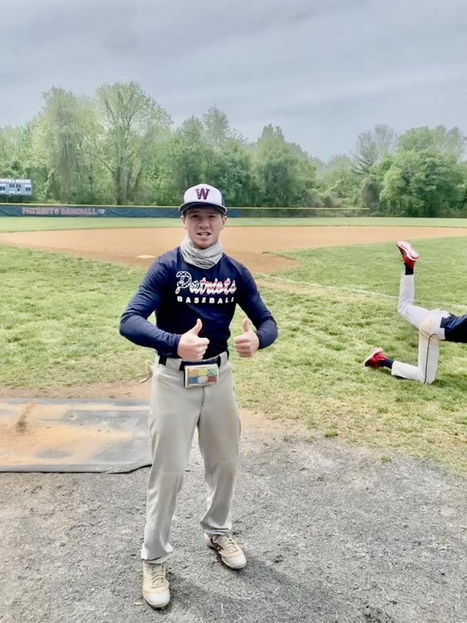 Junior+Dason+Miller+gets+excited+at+baseball+practice.