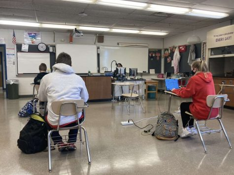 A socially distanced classroom on May 6.