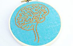 An Etsy embroidery by Hey Paul Studios shows the complexity of the human brain.
