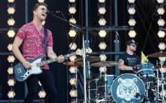 Royal Blood, composed of bassist and singer Mike Kerr and drummer Ben Thatcher, play a live gig in 2017.
