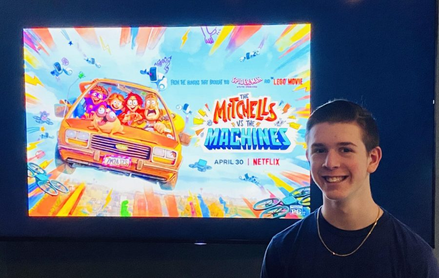 Junior Joshua M. Freedman enjoys watching The Mitchells vs. the Machines at his house on May 19.