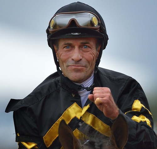 Jockey Gary Stevens celebrates after winning the Preakness.
